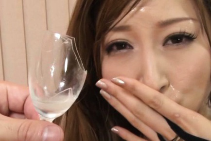 Reira Aisaki Asian has to drink cum and juice collected from ass